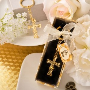 Dramatic Gold Cross Key Chain Favor image