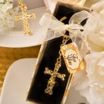 Dramatic Gold Cross Key Chain Favor
