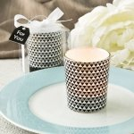 Modern Graphic Design Glass Silver Candle Votive Holder