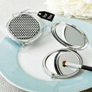 Modern Silver Graphic Design Compact Metal Mirror image