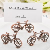 Vintage Bicycle Design Antique Copper Placecard Holder