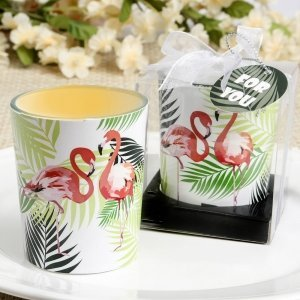 Tropical Flamingo Design Glass Votive Candle Holders image