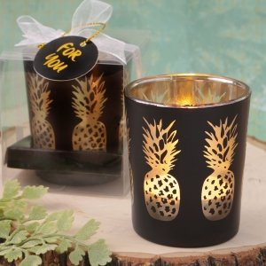 Shimmering Gold Pineapple Matte Black Candle Holder Favors image