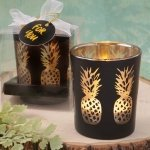 Shimmering Gold Pineapple Matte Black Candle Holder Favors