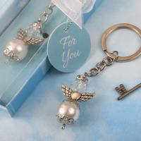 Elegant Angel Pearl and Crystal Key Chain Favor