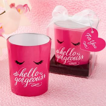 Hello Gorgeous Hot Pink Flirty Votive Favors image