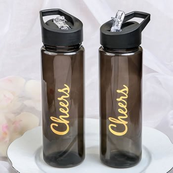 Cheers Themed Black Translucent Water Bottle image
