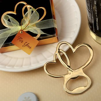Metal Double Heart Gold Finish Bottle Opener Favor image
