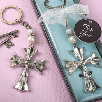 Ornate Flared Silver Cross Keychain Favors image