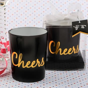 Cheers Black and Gold Candle Favor image