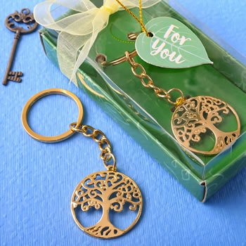 Gold Tree of Life and Family Key Chain Favor image