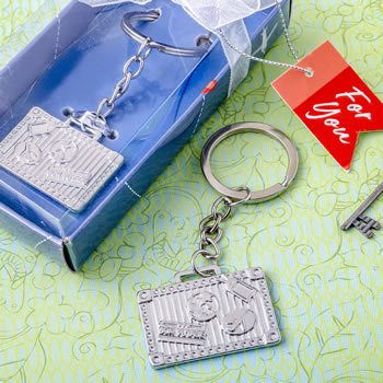 Silver Luggage Tag Design Key Chain image