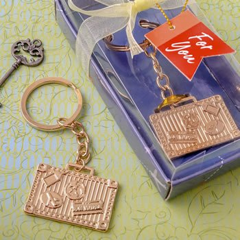 Gold Luggage Tag Design Key Chain Favors image