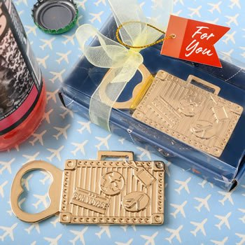Gold Suitcase Design Metal Bottle Opener Favors image
