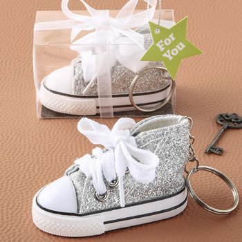 Silver Glitter Mini Canvas Hi-Top Sneaker Key Chain Favor image