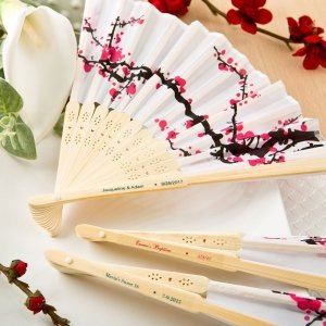 Personalized Delicate Cherry Blossom Design Silk Folding Fan image