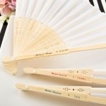 Personalized White Silk Folding Fan Favors