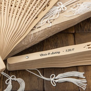 Personalized Intricately Carved Sandalwood Fan Favors image