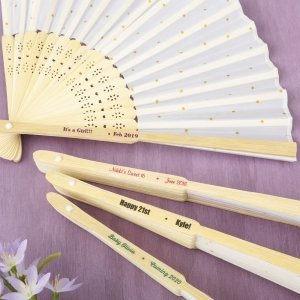 Personalized Occasions Gold Dot Silk Folding Fan Favor image