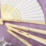 Personalized Occasions Gold Dot Silk Folding Fan Favor