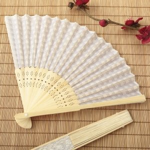 Silver Scallop Silk Folding Fan Favor image