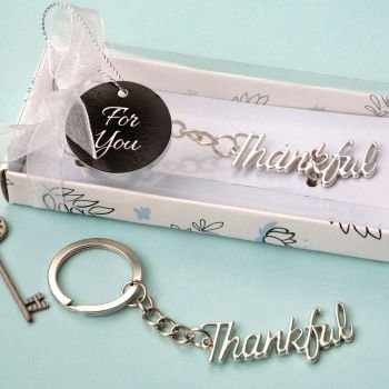 Silver THANKFUL Metal Key Chain Favor image
