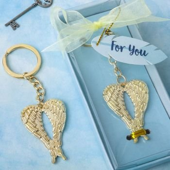 Gold Guardian Angel Wings Metal Key Chain Favor image
