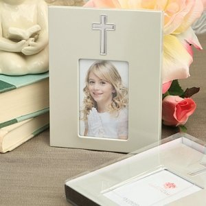 Matte Silver Frame with a Silver Cross image
