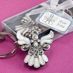 Divine Angel Keychain Favors with Enamel Inlay