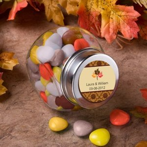Personalized Autumn Glass Jar Favors image