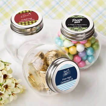 Personalized Prom Design Candy Glass Jar Favors image