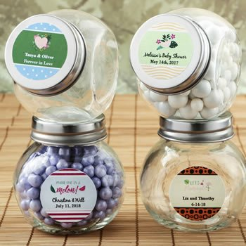 Personalized Tropical Design Candy Glass Jar Favor image
