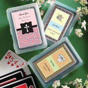 Playing Card Personalized 1st Communion Party Favors image