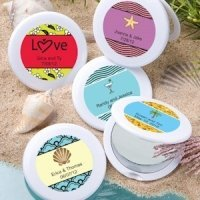 Beach Theme Personalized Mirror Compact Favors