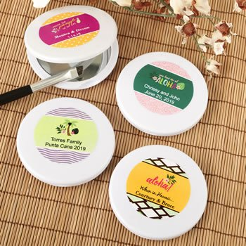 Personalized Tropical Design Compact Mirror Favor image