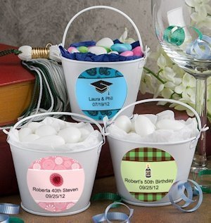 Special Occasion Personalized White Metal Pails image