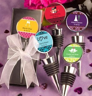 Personalized Wedding Wine Stopper Favors image