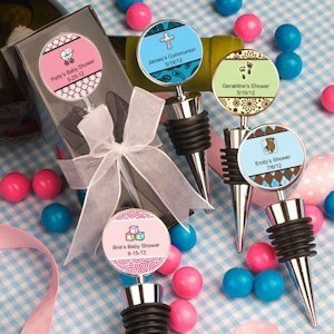 Personalized Baby Shower Wine Bottle Stopper Favors image