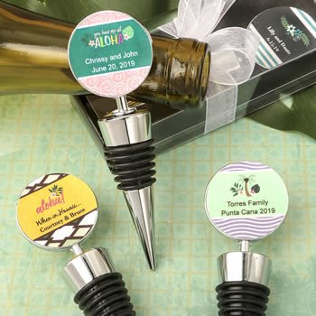 Personalized Tropical Design Wine Bottle Stopper Favors image