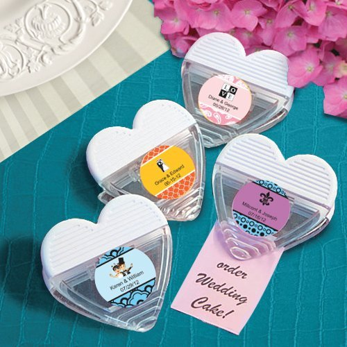 Personalized Heart Shaped Magnetic Wedding Memo Clips