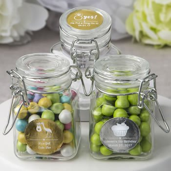 Personalized Metallic Wedding Apothecary Hinged Lid Jars image
