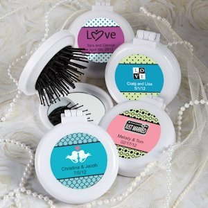 Personalized Brush/Mirror Compact Favors image