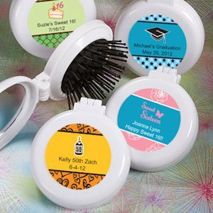 Personalized Brush/Mirror Compact Favors - Sweet 16 image