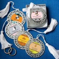 Personalized Bookmark Favors with Damask Cutout Border