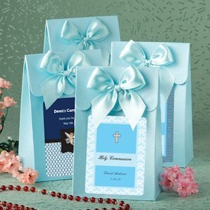 Personalized Blue Communion Gift Boxes with Bow image