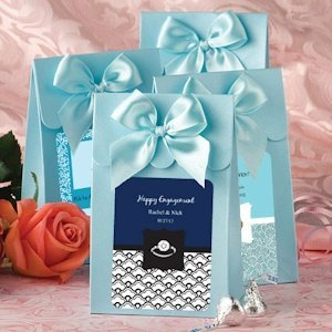 Personalized Blue Engaged Gift Boxes with Bow image