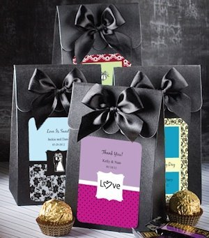 Black Gift Box with Personalized Label and Bow image