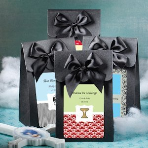 Personalized Black First Communion Favor Boxes with Bows image