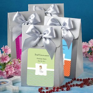 Personalized Silver Communion Favor Boxes with Bows image