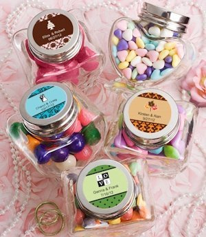 Personalized Heart Shaped Glass Jar Favors image